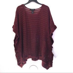 Ashley Stewart Open-Knit Ruffle Poncho Sweater